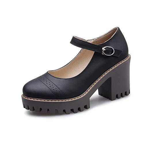 BalaMasa Damen Pantoffeln Mode Rein APL11507 Blockabsatz Pumps Schwarz - 37 EU (Etikette:37) -