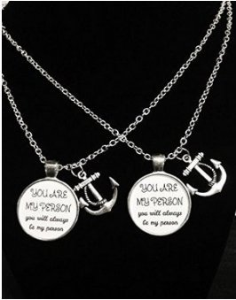 2 Necklaces You Are My Person Anchor Of Hope Quote Best Friend Forever Sisters Couple's BFF Necklace