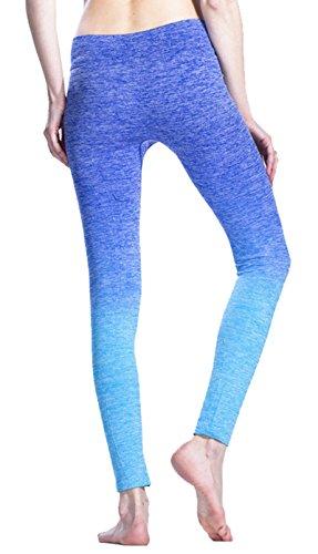Damen Sport Leggings Active Tights Yoga Pants Running Workout Hosen Blau