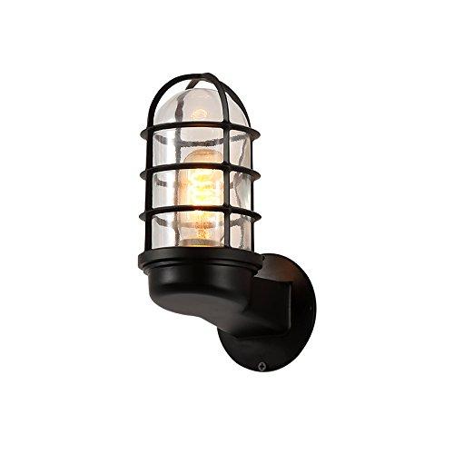 Nclon Vintage Industrielle Metallkorb Eisen Wandleuchte,E27 Lampenfassung 40w Retro Wandlampe Wohnzimmer Wohnzimmer Korridor Ohne glühlampe-Schwarz 7 * 16cm (40w Wandleuchte)