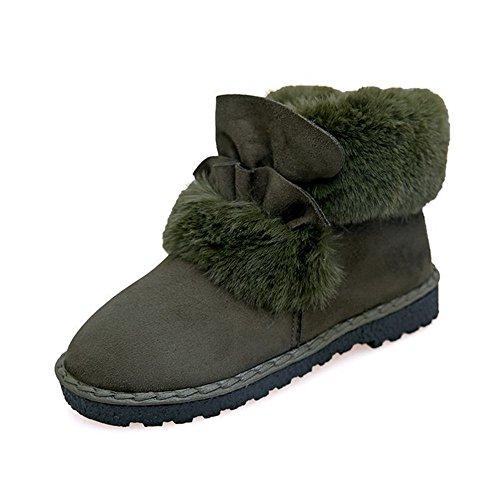 TYLS Scarpe lww Donna scarponi da neve a fondo piatto a testa tonda di peluche colore solido Army Green