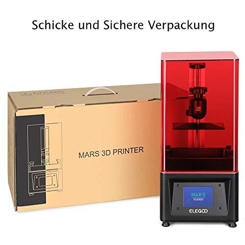 ELEGOO MARS UV LCD 3D Drucker mit 3,5 Zoll Smart Farbtouchscreen Offline-Drucken Druckbereich von 4.72″(L) x 2.68″(W) x 6.1″(H) (Schwarz) - 6