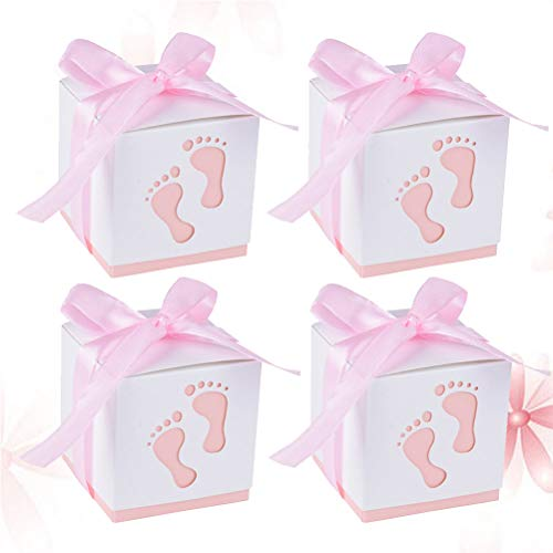 Vosarea 50 stücke Baby dusche Boxen Nette abdrücke Papier behandeln Boxen Band Party giebel Favor süßigkeitstaschen Hochzeit Geburtstag Dekorationen (Hellrosa)