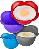 CUOCI UOVA / UTENSILI CUOCIUOVA IN CAMICIA (SET DI 4) in silicone senza BPA - La soluzione per cucinare facilmente e perfettamente l'uovo poché - Colori azzurro, lilla e rosa - Garanzia in omaggio