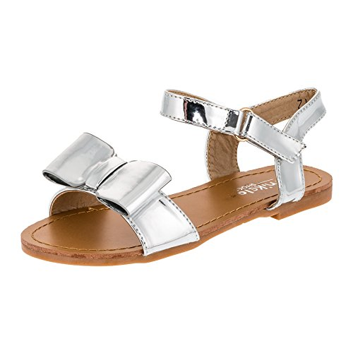 Modische Kinder Mädchen Sandaletten Sandalen Lackoptik M353si Silber 35