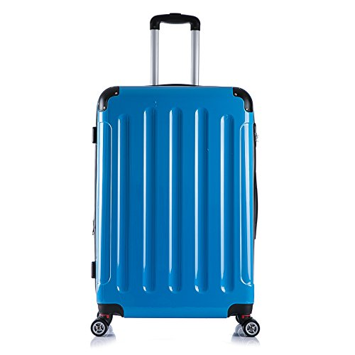 WOLTU RK4212bl, Reise Koffer Trolley Hartschale Volumen erweiterbar, Reisekoffer Hartschalenkoffer 4 Rollen, M/L/XL/Set, leicht und günstig, Blau 3er Set (M+L+XL) - 2