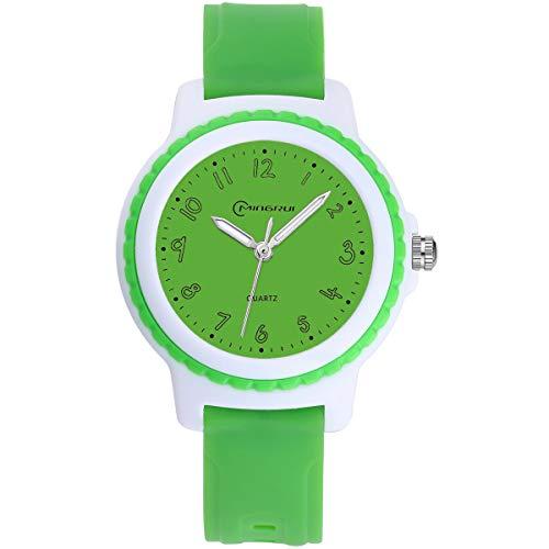 Kinderuhren Jungen Mädchen, Kinder Wasserdichte Analoge Uhr Zeitunterricht Armbanduhr Kinder (Grün) -