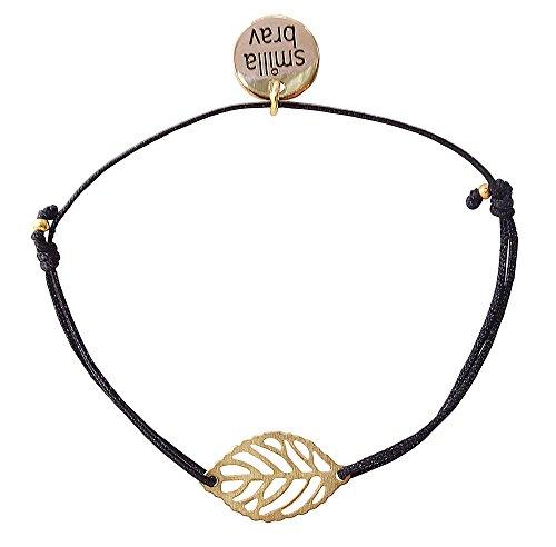 Smilla Brav® Damen-Armband Freundschaftsarmband FLEUR - schwarz/goldplattiert - TS11 - Fleur Blatt De