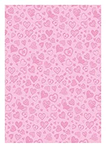 Ursus 60750008 Deluxe - Caja de cartón, 10 Hojas, 300 g/m², Aprox. 23 x 33 cm, de celulosa Fresca, teñida, injertada por una Cara con Laca Brillante, diseño de corazón, Color Rosa.