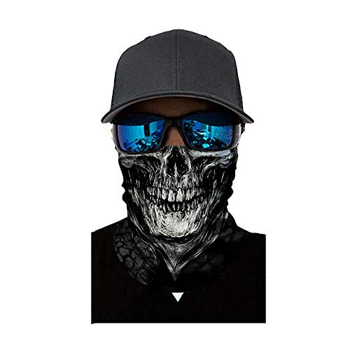 (NINGSANJIN Face Shield Sturmhaube ,viele verschiedene Designs* Multiunktionstuch Maske Fishing Totenkopf Schal Skull Bandana Gesichtsmaske Halstuch Ski Motorrad Paintball Face Shields Maske (D))