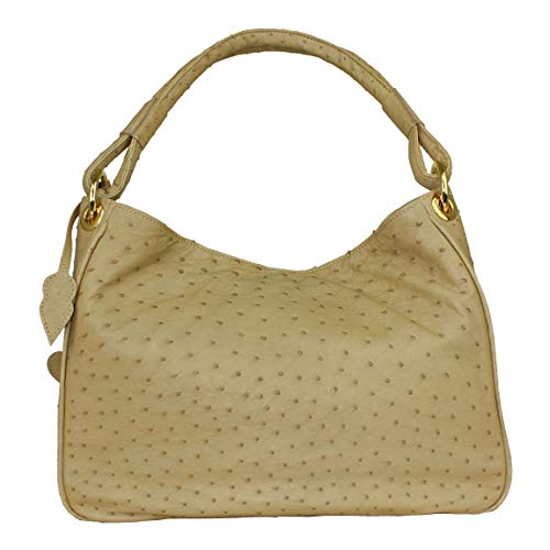 YOE Straußenleder Handtasche echt Marke UVP 2.899,- Mod. XL Straußenleder beige paloma 7139 - Straußenleder Handtasche