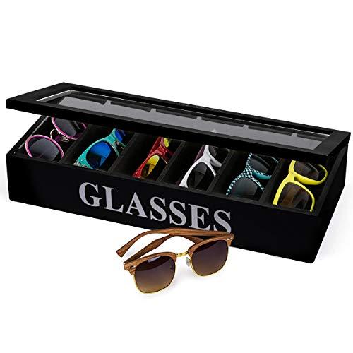 Oramics Brillenbox für 6 Brillen, 40 x 18 x 8 cm, im edlen, schwarzen Holz-Design mit Glasfront Brillenkasten Brillendisplay – auch als Uhrenbox und Schmuckkiste verwendbar