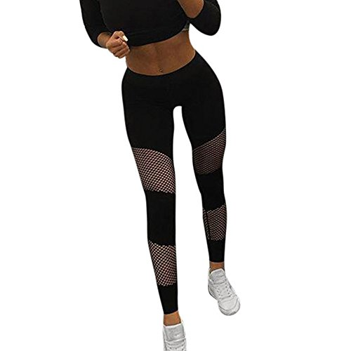 VJGOAL Fishnet Hollow Mesh Stitching Sport Yoga Pants Women Waist Yoga Fitness Leggings Running Gym Stretch Sports Pants Trousers