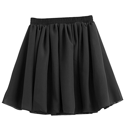 SODIAL (R) Nero Retro Mini gonna Vestito elastico vita alta chiffon pieghettato doppio strato
