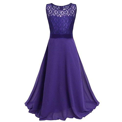 Free Fisher Mädchen Abendkleid Spitzenkleid Ärmellos, Lila, Gr.164( Herstellergröße: 170)