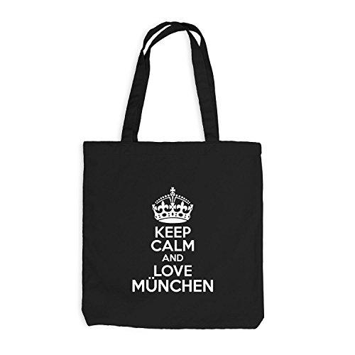 Iuta sacchetto–Keep Calm And Love München–Nostalgia idea regalo Germania Nero