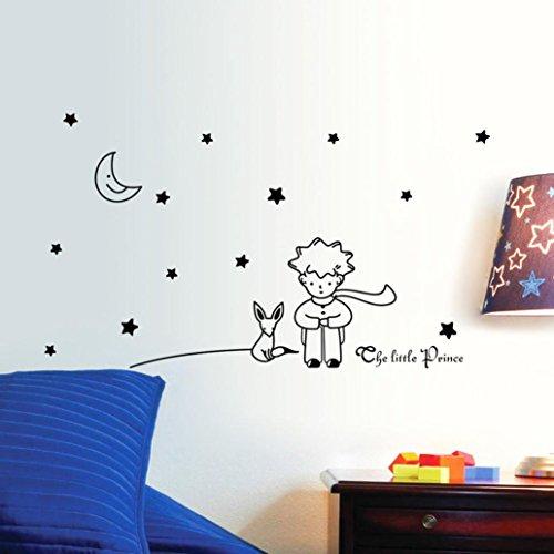 Kolylong® Stars Moon The Little Prince Boy Wall Sticker Home Decor baby room Wall Decals (Black)
