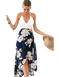 4caaba440e Blooming Jelly Women s Halter Neck Deep V Asymmetrical Floral Dress