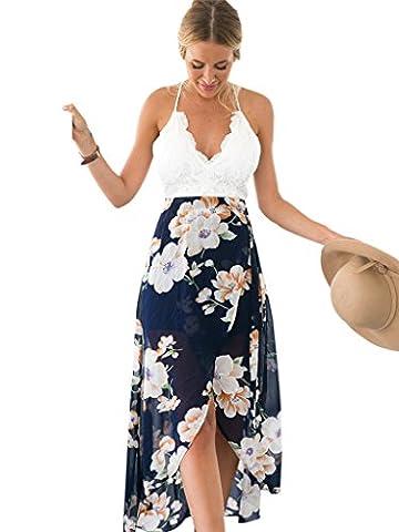 Blooming Jelly Women's Halter Neck Deep V Asymmetrical Floral Dress UK10=EU38=Asian L White
