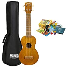 Mahalo Kahiko 'Learn 2 Play' Soprano Ukulele with Essentials Pack - Transparent Brown - Including Clip-on Tuner, Aquila Strings, Picks & MORE