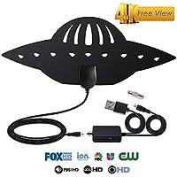 Antena de TV Digital HD para Interiores, Cable HDTV de 13 pies, Antena amplificada de 100 Millas con Amplificador de señal Desmontable para Canales Locales 4K 1080P VHF UHF