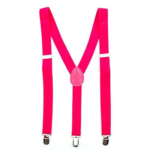 Bunte Neon & Uni Farben - Y - Hosenträger mit 3 Clips Party Business (Pink)