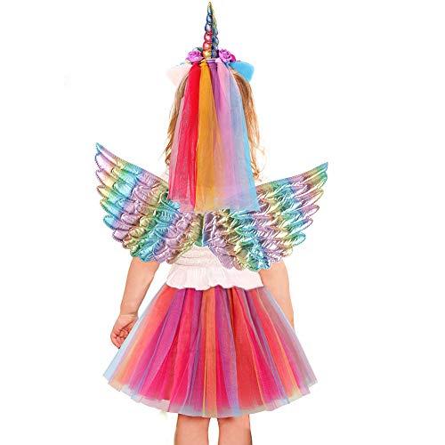 Fee Kostüm Flügel - VAMEI Einhorn Kostüm Kinder Mädchen Tüllrock Prinzessin Kostüm Einhorn Haarreif Fee Flügel Mädchen Geburtstag Geschenk Verkleidung für Halloween Weihnachten Cosplay (Einhorn-A)