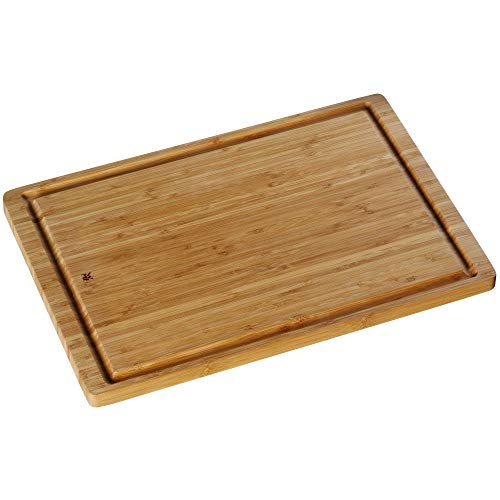WMF Schneidebrett groß, 45 x 30 cm, Bambus natur, Holzbrett rechteckig - Tranchierbrett mit Saftrille - Küchenbrett klingenschonend Holz Brett
