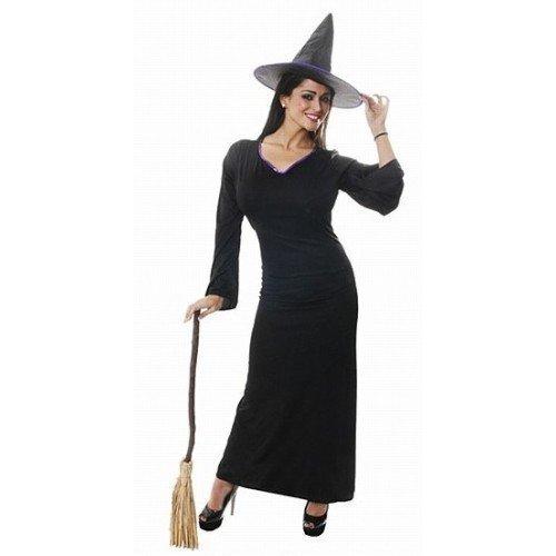 Adulto classica da donna intera lunghezza strega abito costume halloween + cappello uk 10-14