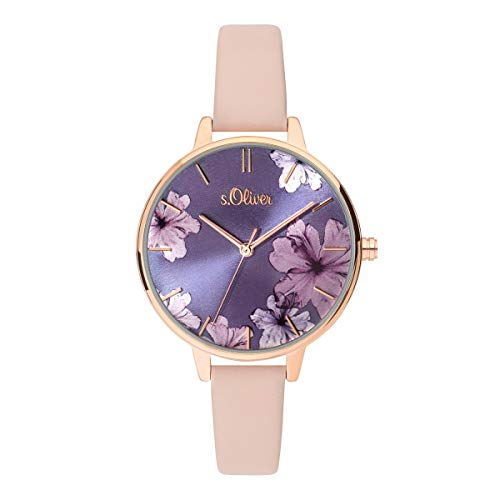 s.Oliver Damen Analog Quarz Uhr mit Leder Armband SO-3778-LQ