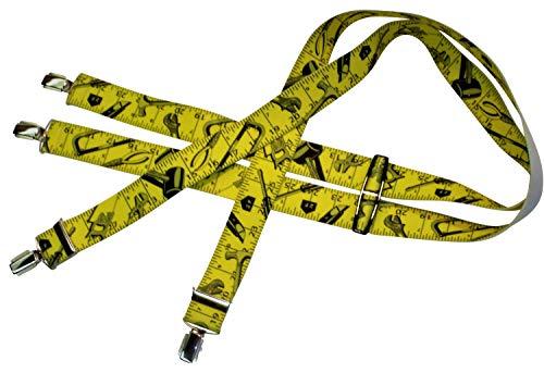 Gelbe Hosenträger | Maßband-Design | Damen und Herren | One Size 120 cm | Anzug-Hosenträger | Arbeitskleidung-Hosenträger | Teichmann (Hosenträger Maßband)