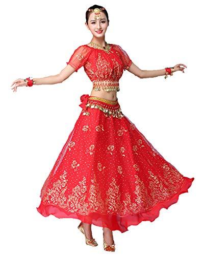 Grouptap Bollywood Rot Indian Womens Damen Phantasie Anarkali Salwar Kameez Kleid arabische Prinzessin Bauchtanz Rock Outfits Kostüm (Rot,...