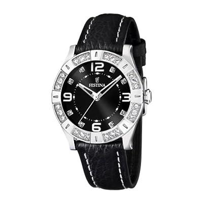 Festina F16537/2 - Reloj analógico de cuarzo para mujer con correa de piel, color negro de Festina