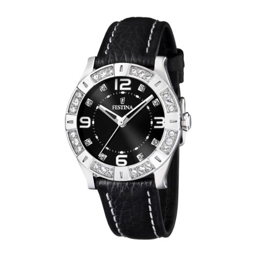 Festina Ladies Watch F16537/2 With Black Leather Strap And Cz