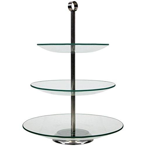 Présentoir à gâteaux à 3 étages en verre, ø29,5/24,5/20,5 x H38 cm ,Plateau de service