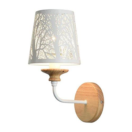 ... Wandleuchten  LED Wandleuchten Seeksung, Durchbrochene Geschnitzte  Massivholz E14 Leuchten, Moderne Einfache Schlafzimmer Nachtwandlampe