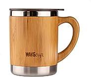 Wakecup - Taza de viaje de bambú reutilizable | doble pared de bambú y acero inoxidable | taza de té ecológica