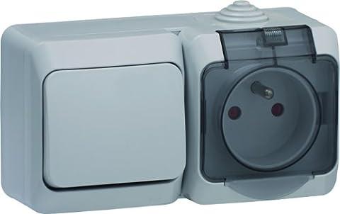 Schneider Electric SC5WDE000884 Va et vient + prise de courant 2P+T Cedar 230 V Gris IP44