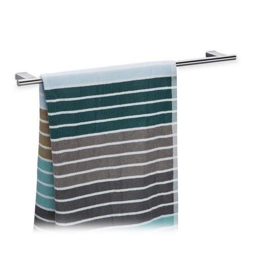 Relaxdays Wandhandtuchhalter Bad, 65 cm breit, Edelstahl, 1 x Handtuchstange, Handtuchhalter gebürstet, robust, silber
