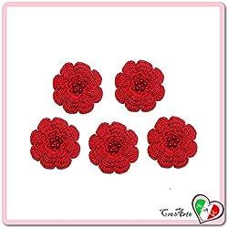Lot de 5 fleurs rouges pur diverses applications en coton au crochet - Dimensions: ø 5.5 cm - Handmade - ITALY