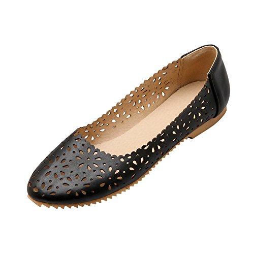 MissSaSa Damen flach hollow out runde Spitze Slipper elegant und bequem PU Leather Kleidschuhe Schwarz