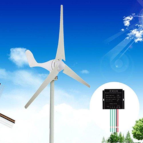 Zhuotop - Turbina de viento híbrida de 400 W, 12 V/24 V, 3/5 cuchillas con controlador de casa,...