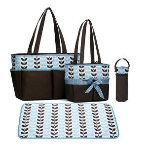 labebe-baby-changing-bag-and-diaper-bag-with-4-pieces-set-blue-leaf