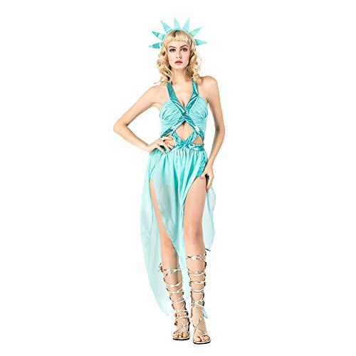 OLKWG Statue of Liberty Kostüm Halloween Göttin Kostüm Ancient Greek Goddess Kostüm Adult Make-up
