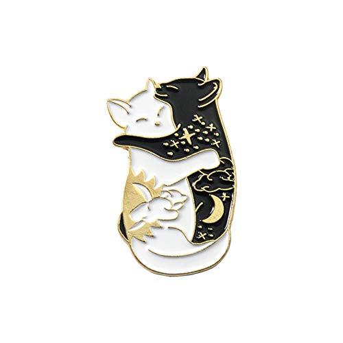 QIHE Schmuck Yin Yang Pins Sammlung Yin-Yang Katze und Yin-Yang Fisch Broschen Abzeichen Emaille Pins japanischen Fisch Schmuck - Yang Wan