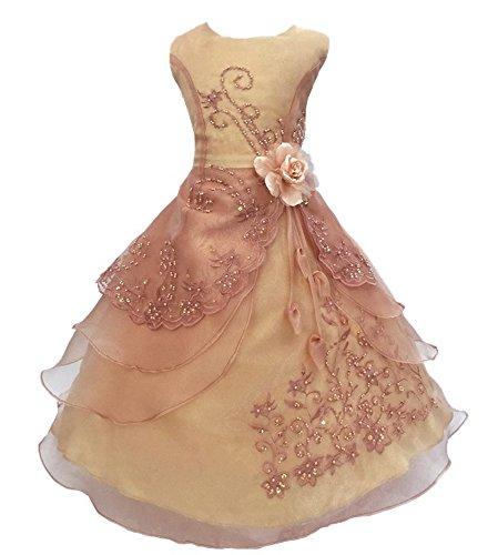 Mädchen Prinzessin Kleid Blumenmädchen Kleid Kinder Hochzeit Kleid 29 Farben Gr. 110-160, Rose Gold, 120 Damen Rose Gold Farbe Kleider