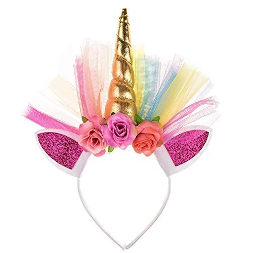 Das Tod Kostüm Mädchen - Rocita Einhorn Stirnband Glitter Pailletten Einhorn Haarband Kopfschmuck mit Blumen Kinder Mädchen Einhorn Kostüm Zubehör Geburtstag Weihnachten Party Geschenk, Golden
