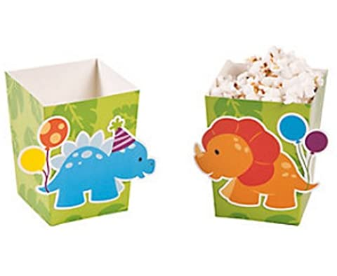 Pack of 12 - Little Dinosaur Popcorn Boxes - Party
