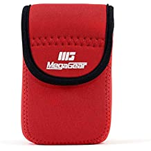 MegaGear mg1280Ultra luz Funda de Neopreno con mosquetón para Nikon Coolpix W300/AW130/Ricoh WG-30W/WG-50–Cámara–Rojo
