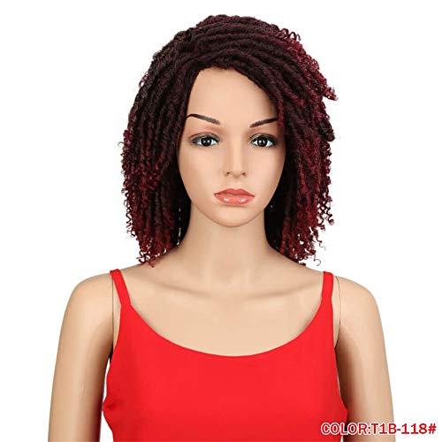 ische Perücken für Schwarze Frauen 14 Zoll Hochtemperaturfaser Dreadlock Ombre Crochet Twist Hair,3 ()
